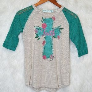 Southern Grace Cross Raglan with Lace Sleeves
